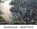 Stock photo aerial view of beautiful residential area by the quay in downtown vancouver british columbia 482874523