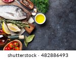 raw fish cooking and... | Shutterstock . vector #482886493