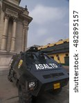 Small photo of Lima, Peru - Oct 2: Policia and the armored vehicle ready for the protestor during APEC conference, on October 2, 2008 in Lima, Peru