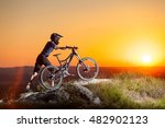 male cyclist in helmets with... | Shutterstock . vector #482902123