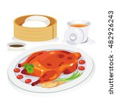 a dish of roast duck with...   Shutterstock .eps vector #482926243