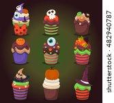 cupcake happy halloween scary... | Shutterstock .eps vector #482940787
