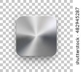 Metal blank app icon, technology button template with brushed texture, chrome, silver, steel, realistic shadow and transparent background for web sites, interfaces, applications, apps. Vector.