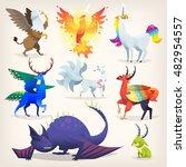 set of colorful mythological...   Shutterstock .eps vector #482954557