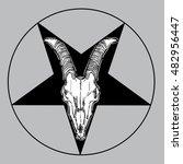 goat skull vector illustration. ... | Shutterstock .eps vector #482956447