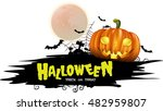 halloween night background with ... | Shutterstock .eps vector #482959807