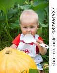 baby with a big spoon sits next ... | Shutterstock . vector #482964937