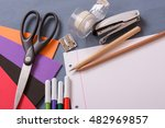 back to school concept on a... | Shutterstock . vector #482969857