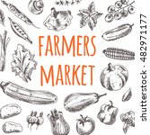 farmers market card with... | Shutterstock .eps vector #482971177