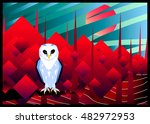 white owl in red forest made in ...