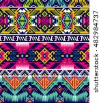 neon colors tribal vector seamless pattern with eagle. aztec abstract geometric art print. ethnic hipster vector background. Wallpaper, cloth design, fabric, paper, cover, textile template. | Shutterstock vector #482984737