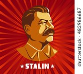 portrait of joseph stalin.... | Shutterstock .eps vector #482986687