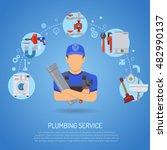 plumbing service infographics... | Shutterstock .eps vector #482990137