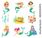 fairy tale mermaids and related ... | Shutterstock .eps vector #483033493