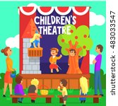 amateur children theatre... | Shutterstock .eps vector #483033547