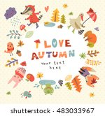 cute autumn background with the ... | Shutterstock .eps vector #483033967