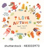 cute autumn background with the ... | Shutterstock .eps vector #483033973