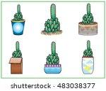 cactus set | Shutterstock .eps vector #483038377