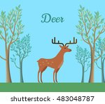 red deer in the forest.... | Shutterstock .eps vector #483048787