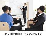 businesswoman presenting new... | Shutterstock . vector #483054853