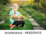 girl 6 years old holding a... | Shutterstock . vector #483055453