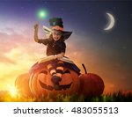 happy halloween  cute cheerful... | Shutterstock . vector #483055513