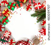 christmas wreath of gifts  fir... | Shutterstock . vector #483059707