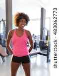 young african female in a gym... | Shutterstock . vector #483062773