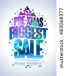 pre xmas biggest sale poster ... | Shutterstock .eps vector #483068377
