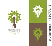 icon or logo template for vegan ... | Shutterstock .eps vector #483077143
