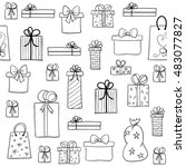 seamless vector christmas... | Shutterstock .eps vector #483077827