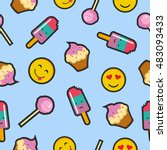 cute seamless pattern with... | Shutterstock .eps vector #483093433