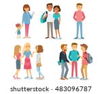 street style people and couple... | Shutterstock .eps vector #483096787