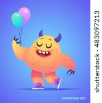 big collection of cute monsters.... | Shutterstock .eps vector #483097213