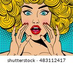Sexy surprised blonde pop art woman with wide open eyes and mouth and rising hands screaming. Vector background in comic retro pop art style. Party invitation. | Shutterstock vector #483112417