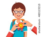 student boy being awarded for a ... | Shutterstock .eps vector #483115213