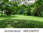 green lawn landscape with tree... | Shutterstock . vector #483136093