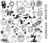 halloween hand drawn set   Shutterstock .eps vector #483136723