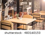 selective focus of table of... | Shutterstock . vector #483160153
