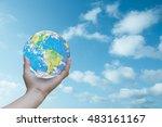 world human hands the sky in... | Shutterstock . vector #483161167