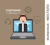 customer service flat icons... | Shutterstock .eps vector #483173353