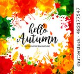 text hello autumn in frame in... | Shutterstock .eps vector #483177547