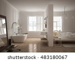 bedroom   bathroom in... | Shutterstock . vector #483180067