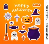 set of halloween ribbons and...   Shutterstock .eps vector #483185587