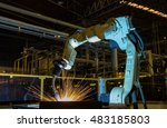 robot welding  part in... | Shutterstock . vector #483185803