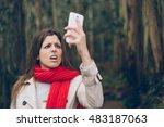 upset woman looking worried... | Shutterstock . vector #483187063