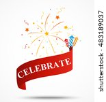 celebration ribbon with... | Shutterstock .eps vector #483189037