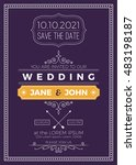 vintage wedding invitation card ... | Shutterstock .eps vector #483198187