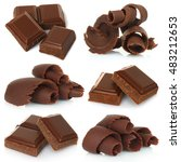 chocolate shavings with pieces... | Shutterstock . vector #483212653