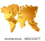 3d illustration. golden world... | Shutterstock . vector #483212677